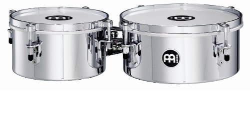 Meinl Percussion MIT810CH 8-Inch and 10-Inch Mountable Steel Mini Timbales, Chrome - Timbale Steel Set