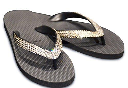 Sole Womens Sandals Flips (Swarovski Crystals Sole Envy Sandals (Medium (7/8), Clear))