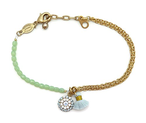 Catherine Popesco Gold Plated Fleur De Couleur Swarovski Crystal Bracelet with Light Blue Tassel
