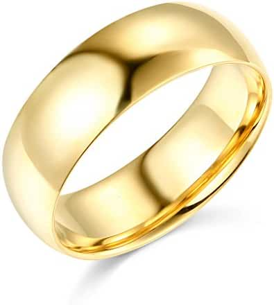 14k White or Yellow Gold 7mm COMFORT FIT Plain Wedding Band
