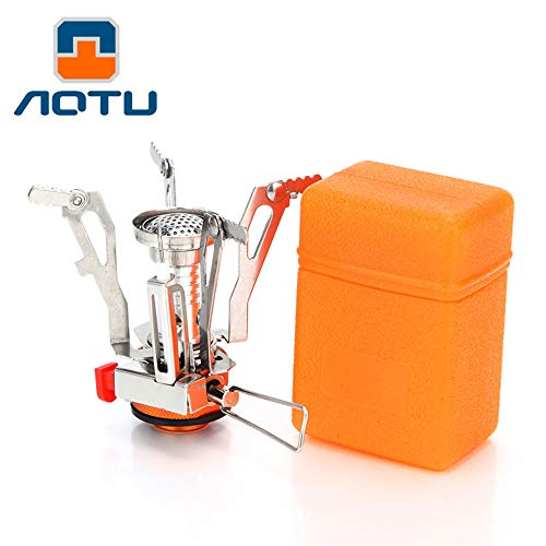 AOTU Portable Camping Gas Stove Backpacking Stove 110g Stable Support Wind-Resistance Camp Stove for Outdoor Camping Hiking Cooking