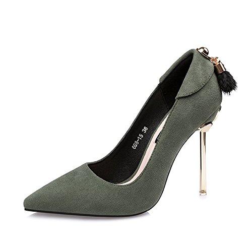 vert 34 EU FLYRCX AHommesde européenne avec Talons Hauts Pointus Mode Sexy Chaussures Simples Les Les dames Chaussures de Mariage Chaussures de fête Chaussures de Plein air