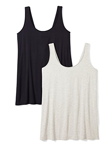 Daily Ritual Women's Plus Size Jersey Tank Top, 2-Pack, 1X, Navy/Light Heather Grey