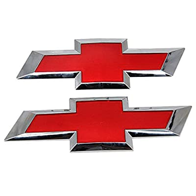 Guzetop Front & Tailgate Bowtie Emblem fit for 2016-2020 Chevy GM Silverado 1500 (Red): Automotive