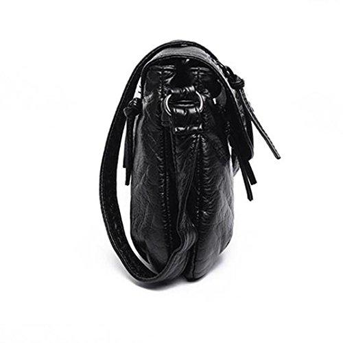 Loisir Noir Desigual Couverture Charmant Simple Frange Mode à Main Embrayage Téléphone Dame à Grande Rétro Fille Sacs QinMM Bandoulière Femmes Zipper OL Sac Épaule Capacité Shopping CU4Fqw