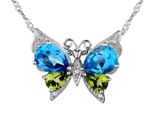 Blue Topaz, Green Peridot and Created White Topaz Butterfly Pendant Necklace 6.00 Carats (ctw) in Sterling Silver