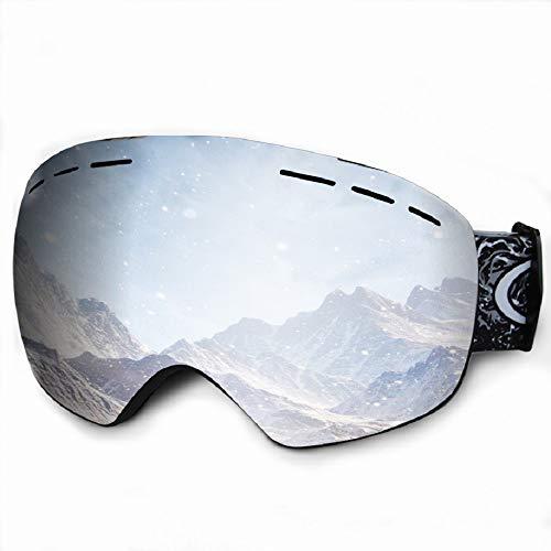 - Veadoorn Ski Snowboard Snow Goggles, Over Glasses Ski Goggles for Men Women Youth - Anti-Fog Snowmobile Goggles with Spherical Detachable Lens UV Protection (Black Frame Silver(VLT 8.4%) Lens)