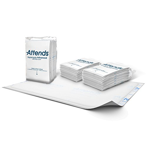Attends Supersorb Advanced, Premium Underpads with Dry-Lock Technology, Adult Incontinence Care, 30