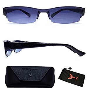 Men & Women Slim & Thin Frame Plastic Sun Reader Reading Glasses And Sunglasses Eyewear for Outdoor + FREE Hard Case + Cleaning Cloth ( Strength : +1.00 )