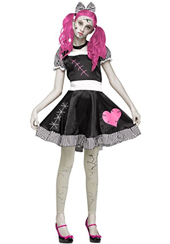 Broken Doll Gothic Teen Costume, Black / White / Pink, Teen (Broken Doll Halloween Costumes)