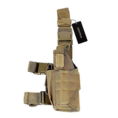 AIRSOFTPEAK Tactical Leg Holster Universal Pistol Drop Leg Gun Holster Adjustable Hunting Thigh Holster Left Handed Mag Pouch, Tan