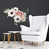 "wall decals RoomMates RMK3866GM Fresh Floral Peel And Stick Giant Wall Decals, White, Pink, Green, 1 Sheet 36.5"" x 17.25"""