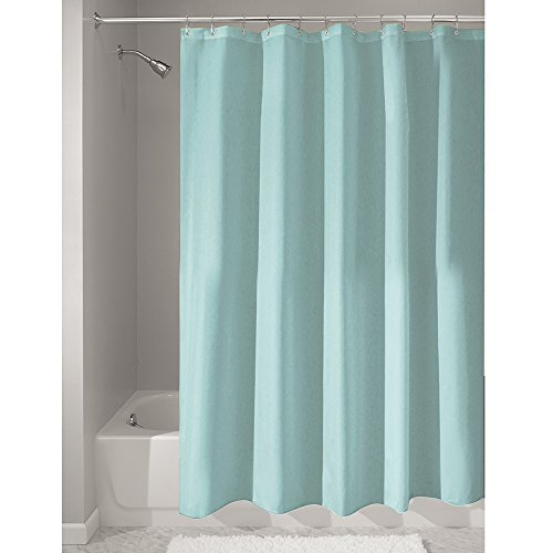 InterDesign Mildew-Free Water-Repellent Fabric Shower Curtain, 72-Inch by 72-Inch, Mint