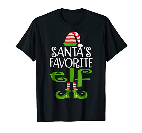 Santas Favorite ELF Funny T-shirt Christmas Pajamas Family