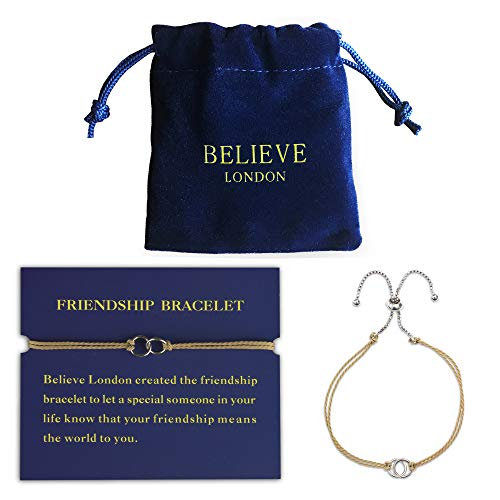 Believe London Friendship Bracelet with Jewelry Bag & Meaning Card | Fully Adjustable to Fit Any Wrist | Silk with Double Link