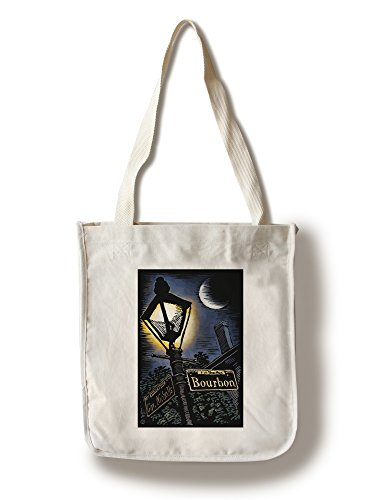 Lantern Press New Orleans, Louisiana - Bourbon Street Lamppost - Scratchboard (100% Cotton Tote Bag - ()