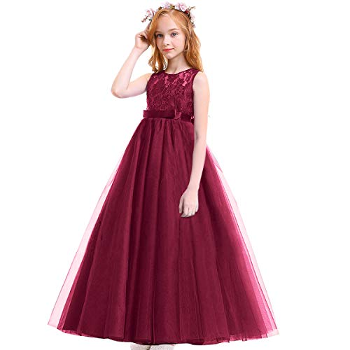 IBTOM CASTLE Big Girl Vintage Lace Junior Bridesmaid Dress Dance Ball Christening Pageant Maxi Gown Floor Long for Party Wedding Maroon Burgundy 4-5 Y