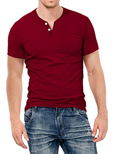 KUYIGO Mens Slim Fit Short& Long Sleeve Beefy Fashion Casual Henley T Shirts of Cotton Shirts