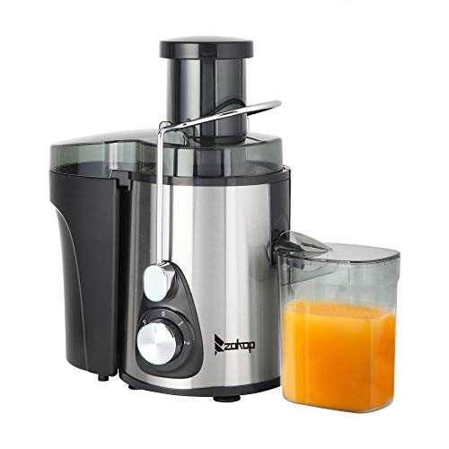 Juicer, 110V 600W 75MM Large Caliber – 600ML Juice Cup – 1000ML Slag Cup – Double Gear Electric Juicer Stainless Steel