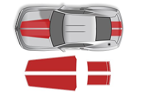 Factory Crafts Chevrolet Camaro 2010-2015 Hood and Trunk Stripes Graphics Kit 3M Vinyl Decal Wrap - Light ()