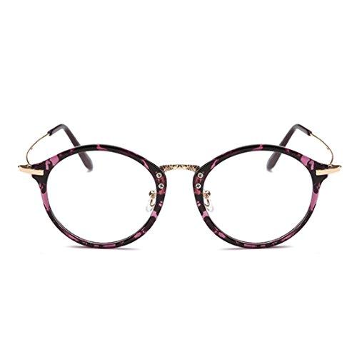 cadre Aiweijia Violet métal Femme résine Rétro Round Léopard Mode myopie Frame lunettes Lunettes Homme Motif lentilles rvOrqw
