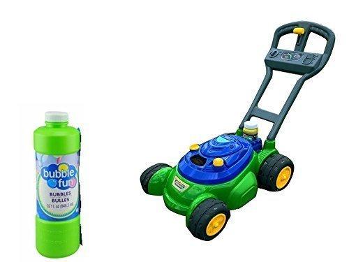 Kids Push 'N' Bubble Mower 4 oz Bottle of Bubble Included Plus FREE 32oz Bottle Of Bubbles Mechanical Gear Sounds