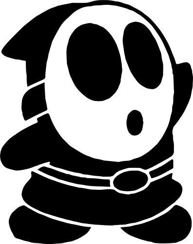 Nintendo Decal Set - ANGDEST Super BROS Shy Guy Nintendo (Black) (Set of 2) Premium Waterproof Vinyl Decal Stickers for Laptop Phone Accessory Helmet Car Window Bumper Mug Tuber Cup Door Wall Decoration