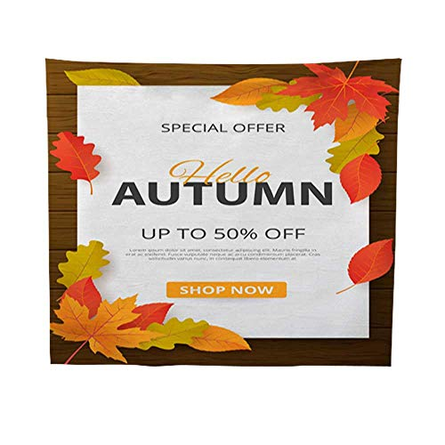 Leighhome Wall Hanging tapestrymandala Wall tapestryAutumn Sale Background with Leaves Can be Used for Shopping Sale Promo Poster Banner Flyer Invitation Website or greetin 54W x 72L INCH -