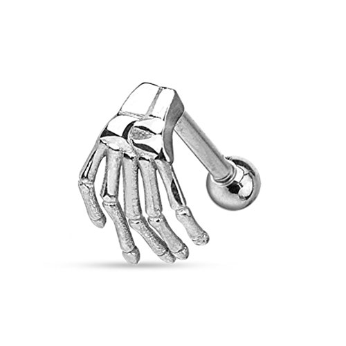 (316L Surgical Steel Skeleton Hand Eyebrow/Cartilage Barbell Piercing (Steel))
