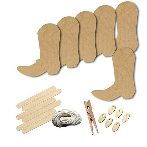 Cowboy Boot Wild West Western Style 8915, Wood Shape Craft Kit, 4 Inch Size Kids Project Kit, Great Party, School and DIY (Wild West Craft Ideas)