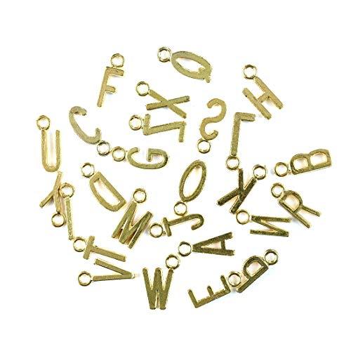 (Golden Tone 'A-Z' Alphabet Letter Charms Pendants Cursive Initial Personalized Round Disc Charms 130Pcs)