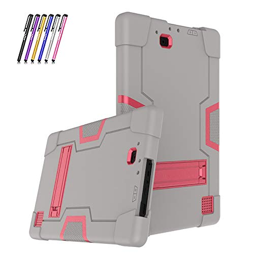 Cherrry for RCA Galileo Pro 11.5 Inch Tablet Case,Heavy Duty Shockproof Hybrid Rugged Hard Armor Full Body Protective Case Build in Kickstand+Stylus Pen (Gray/Pink)
