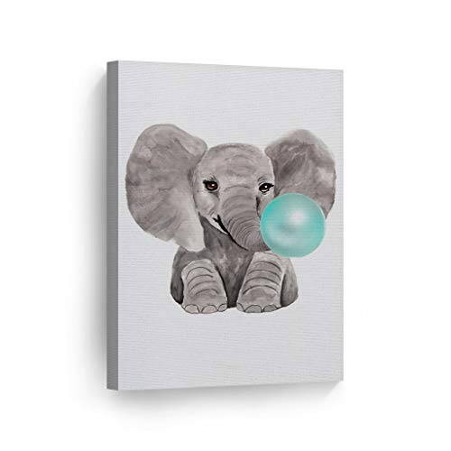 Cute Baby Elephant Animal Bubble Gum Art Teal Blue Canvas Print Watercolor Painting Wall Art Home Decoration Pop Art Kids Room Decor Nursery Ready to Hang-%100 Handmade in The USA - 12x8
