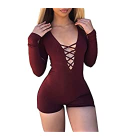 - 41s4p1XZcCL - Womens Solid Deep V Neck Bandage Hollow Out Sexy Long Sleeve Bodysuits Catsuit