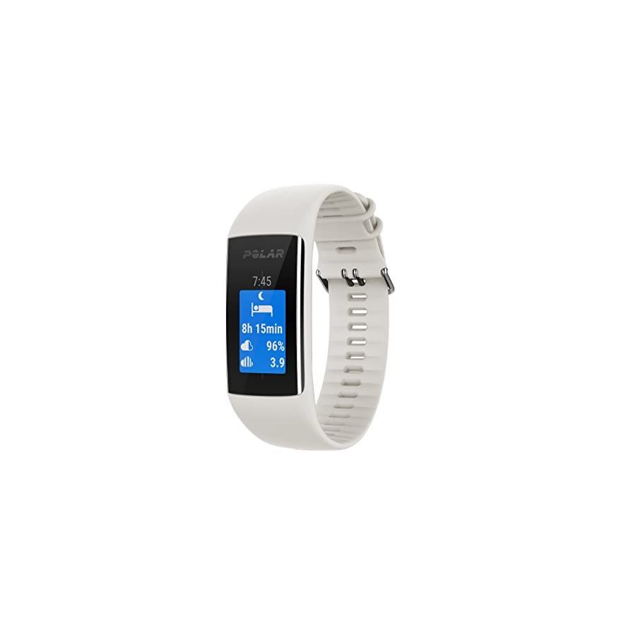 Polar A370 (White, Medium/Large) GPS Fitness Band BUNDLE with Extra Silicone Band (Blue) & PlayBetter Portable Power Bank (2200mAh) | On Wrist Heart Rate, 24/7 Activity Tracker