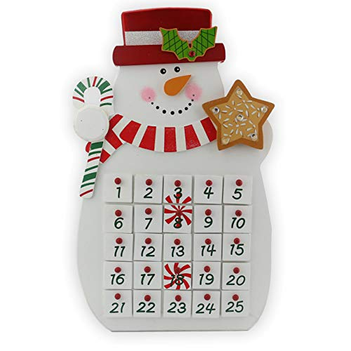 Sunnyglade 2018| 25 Day Countdown Calendar | Premium Christmas Painted Snowman Xmas Gifts Keepsake | Unique Holiday Decoration |100% Wood Construction, White and Red ()