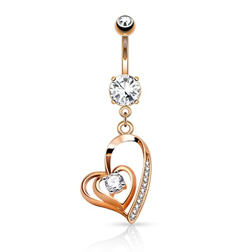 Dangle Heart Belly Gold (Pierced Owl CZ Crystal Center Double Heart Dangling Belly Button Ring (Rose Gold Tone/Clear))