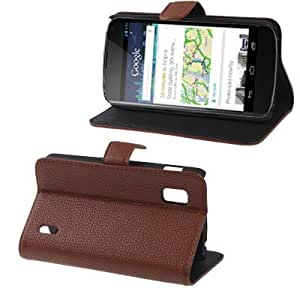 Litchi Texture Leather Case with Credit Card Slot & Holder for LG E960 Nexus 4 (Brown)