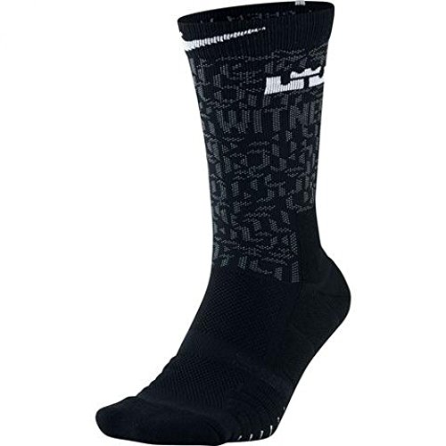 Unisex LeBron Elite Quick Crew Basketball Socks BLACK/COOL GREY/WHITE (LARGE)