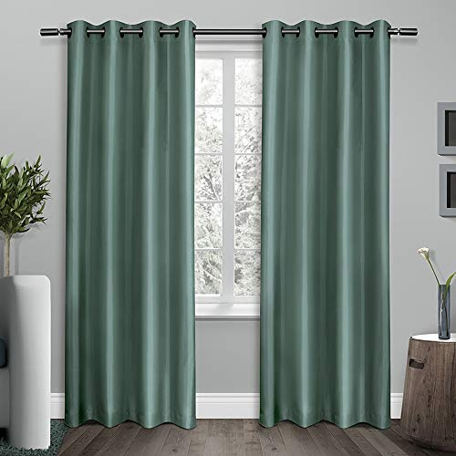 (Exclusive Home Curtains Shantung Faux Silk Thermal Window Curtain Panel Pair with Grommet Top, 54x96, Teal, 2 Piece)