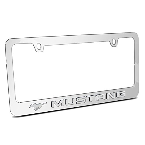 (Ford Mustang 3d Chrome Emblem on Mirror Chrome Metal License Plate Frame , Made in)