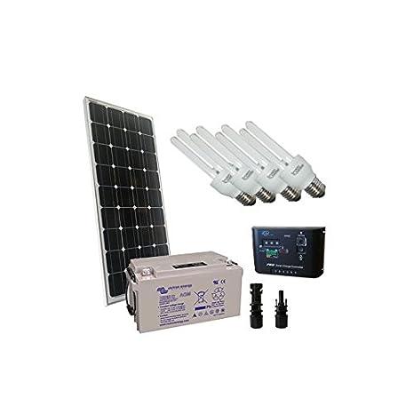 PuntoEnergia Italia - Kit de Iluminación Solar Fluo 100W 12V Mono Interior Fotovoltaica Batería 60Ah - KI-100M-12-B60-AVF: Amazon.es: Bricolaje y ...
