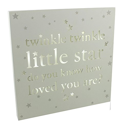 Unique Light Up Square  Twinkle Twinkle Little Star  Baby Plaque By Haysom Interiors