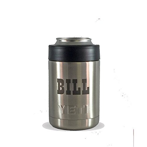 Custom Name Permanently Personalized with Laser Marking in Black on Authentic Can and Bottle Beverage Holder