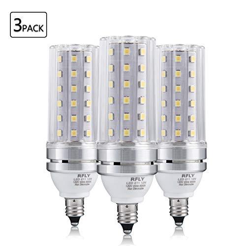 E11 LED Bulbs, 12W LED Candelabra Bulb 100 Watt Equivalent, 1200lm, Decorative Candle Base E11 Corn Non-Dimmable LED Chandelier Bulbs, Daylight White 6000K LED Lamp, Pack of 3 ()