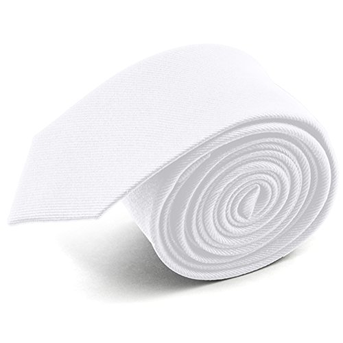- 100% Silk Handmade White 2 Inch Skinny Tie Men's Necktie by John William