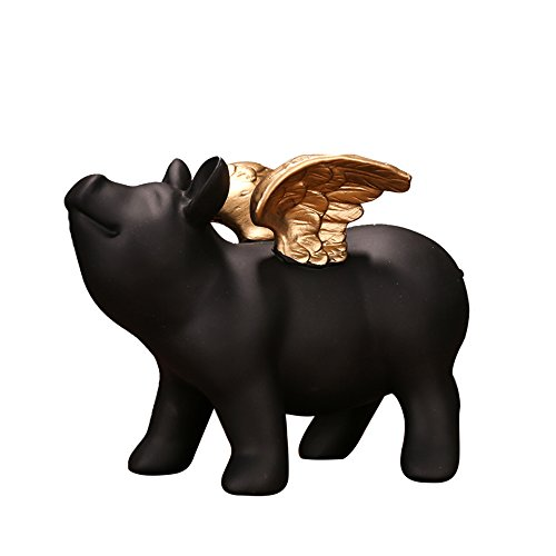 Colias Wing Home Decor-Cuddly Pig Shape Stylish Design Coin Bank Money Saving Bank Toy Bank Cents Penny Piggy Bank-Black&Gold
