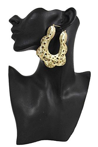 TFJ Women Fashion Hook Earrings Big Ethnic Gold Color Metal Large Urban Square Geometric Hip Hop ()