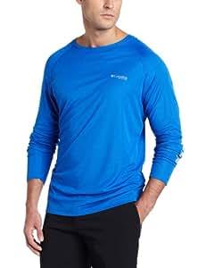 Columbia Men's Terminal Tackle Long Sleeve Shirt, Vivid Blue/Cool Grey Logo, Small