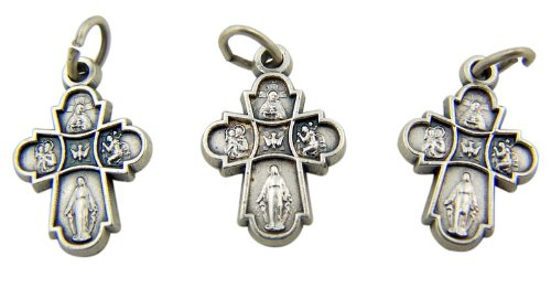 Jewelry Making Charms Lot of 3 Four 4 Way Cross with Dove 3/4